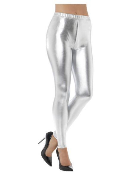 80's Metallic Disco Leggings in Silver